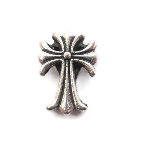 1 perle passante croix en métal argenté 16mm pour lanière 10mm