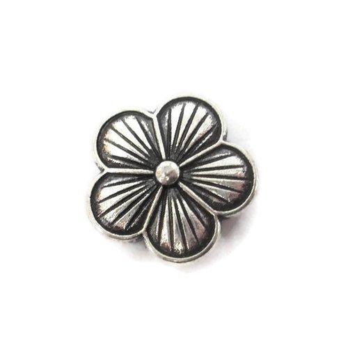 1 perle passante fleur en métal argenté 20mm pour lanière 10mm