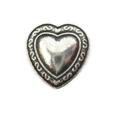 1 perle passante coeur en métal argenté 16mm pour lanière 10mm