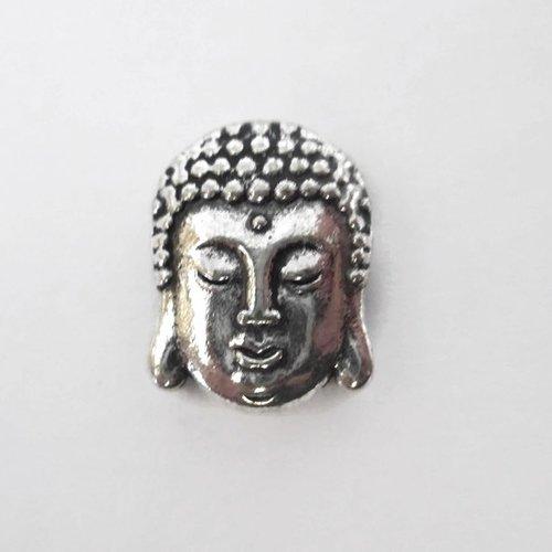 1 perle passante tête de bouddha en métal argenté 15mm pour lanière 10mm
