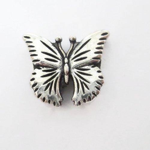 1 perle passante papillon  en métal argenté 16mm pour lanière 10mm