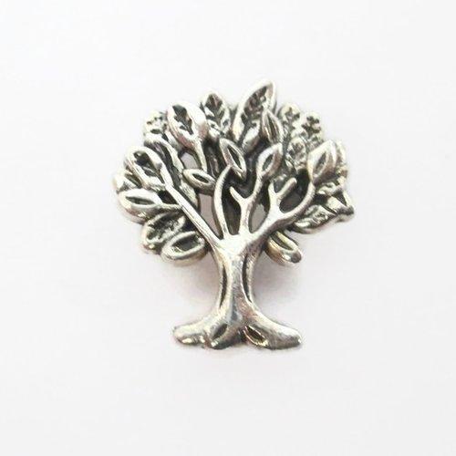 1 perle passante arbre en métal argenté 17mm pour lanière 10mm