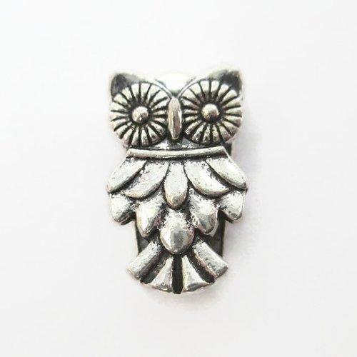 1 perle passante chouette  en métal argenté 10mm pour lanière 10mm