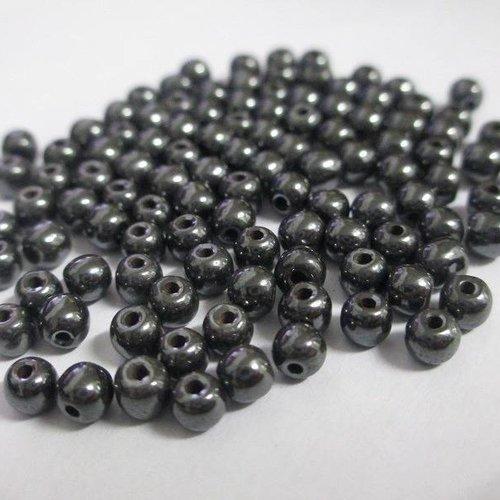 20 perles hématite non magnétique 4mm  (e-42)