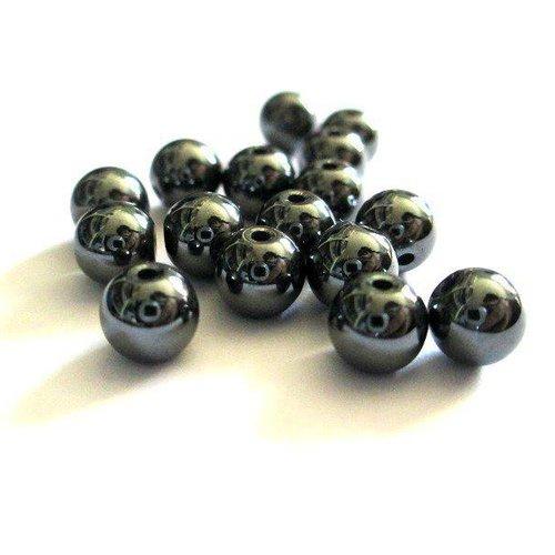10 perles hématite non magnétique  8mm (g-36)