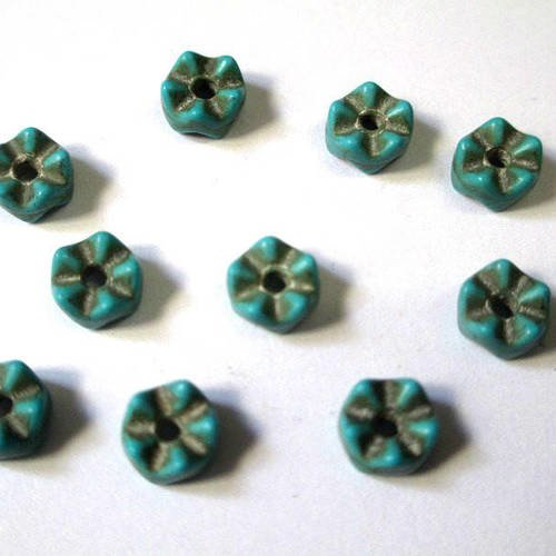 10 perles intercalaire howlite bleu 6x4mm