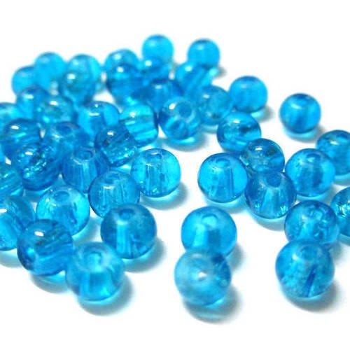 20 perles de verre 4mm Bleu