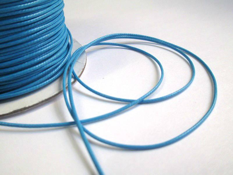 10m  fil cordon polyester bleu ciré 1mm