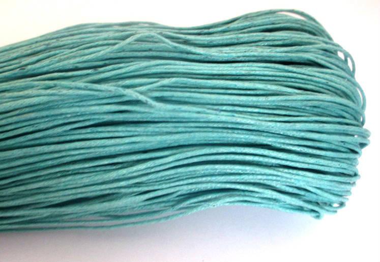 10 mètres fil coton ciré bleu émeraude  0.7mm