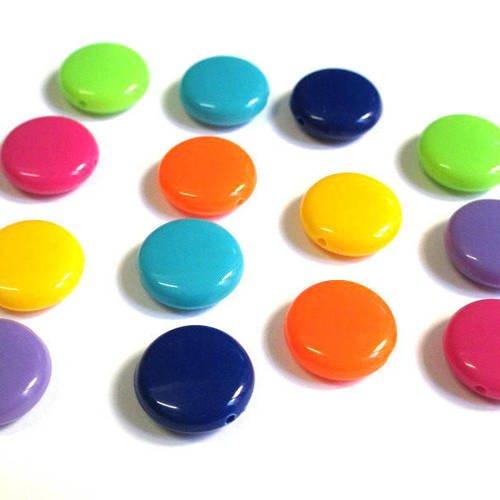 Lot de 10 perles acrylique multicolore 14x5mm