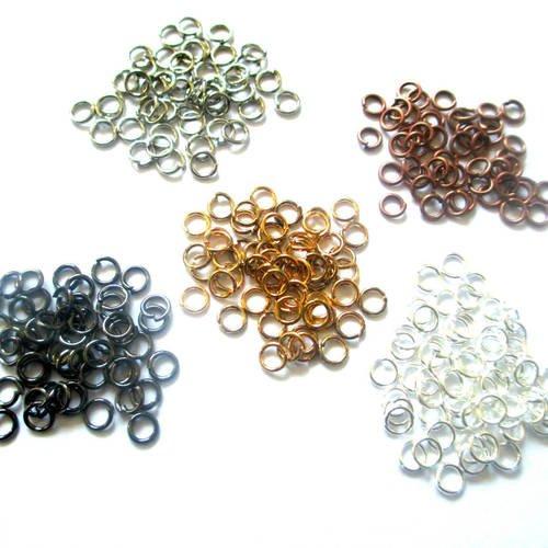 Lot 250 anneaux de jonction 4mm mélange de couleurs