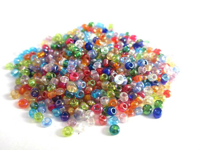 10gr Perles de rocaille multicolore 2mm (environ 800 perles)