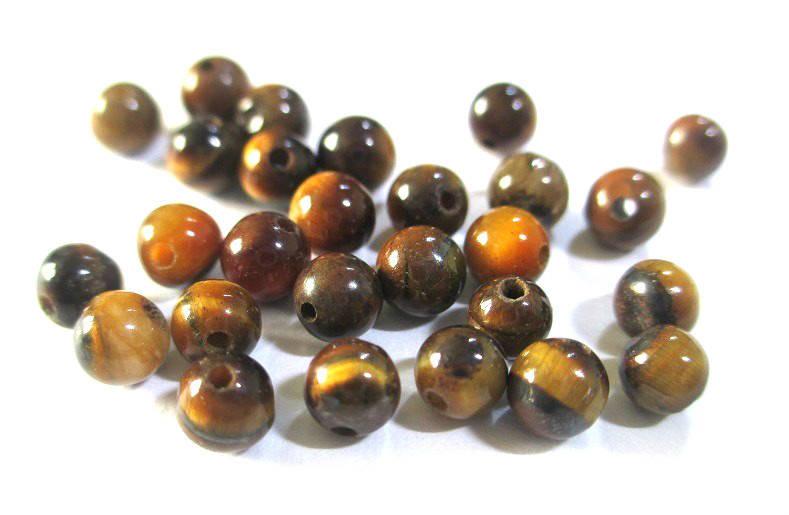 20 perles oeil de tigre 4mm , naturelles (G-02)