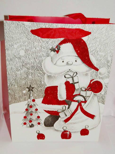 1 Pochette, Sac cadeau Noël  motifs Père Noel  pailleté 24x18x8cm
