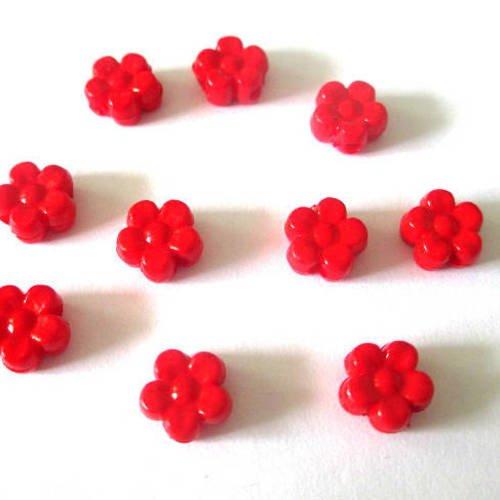 10 perles acrylique fleur rouge 8.5x9x4 mm