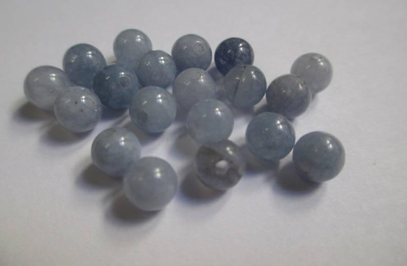 10 Perles aigue marine 6 mm (G-05)