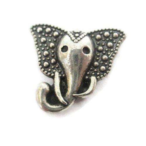 1 perle passante éléphant en métal argenté 15mm pour lanière 10mm