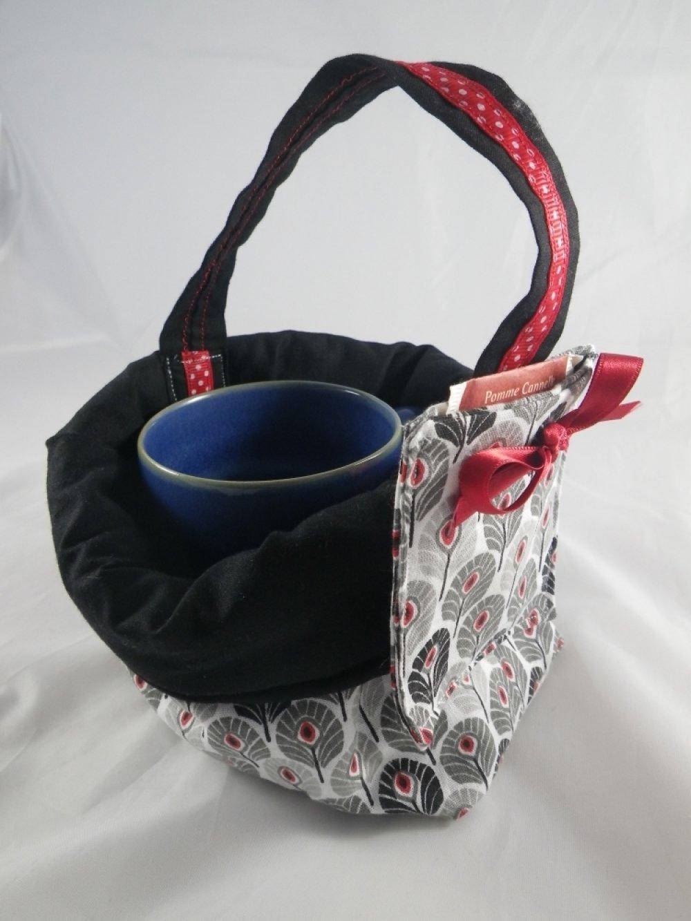 Mug bag plumes noir, gris et rouge