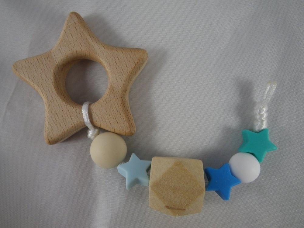 Hochet de dentition étoile filante bleue inspiration Montessori