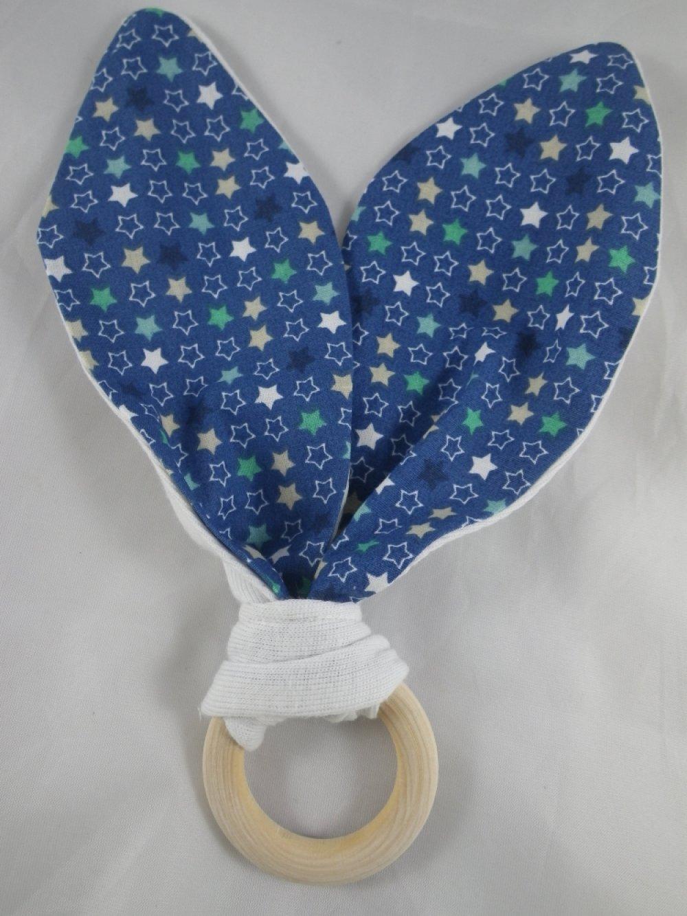 Hochet de dentition bleue étoilé oreilles inspiration Montessori