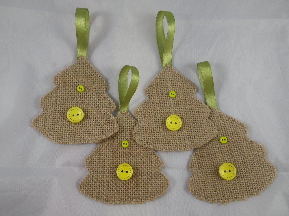 4 sapins de Noël beige et vert en jute et boutons