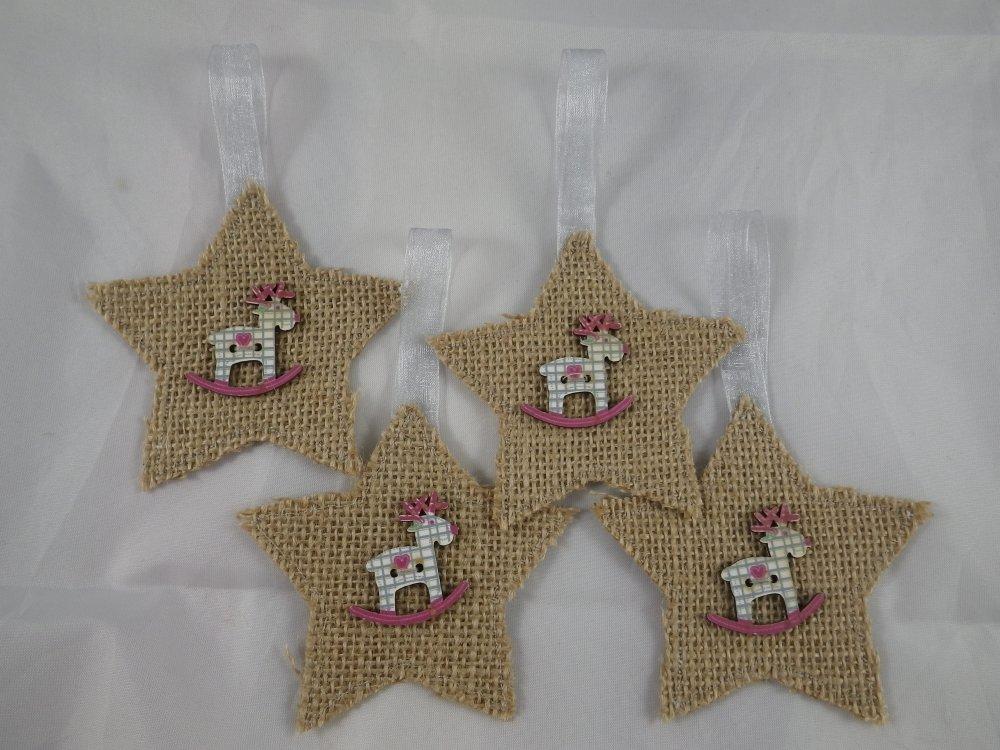 4 étoiles de Noël beige en jute et boutons rennes