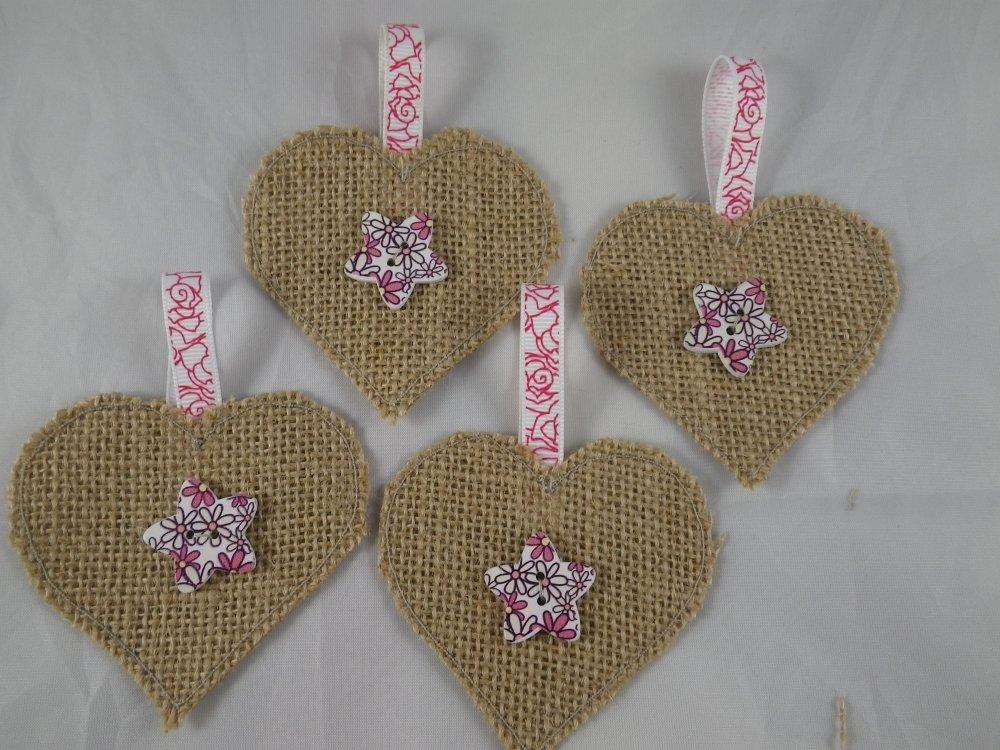 4 suspensions cœurs en jute beige et rose