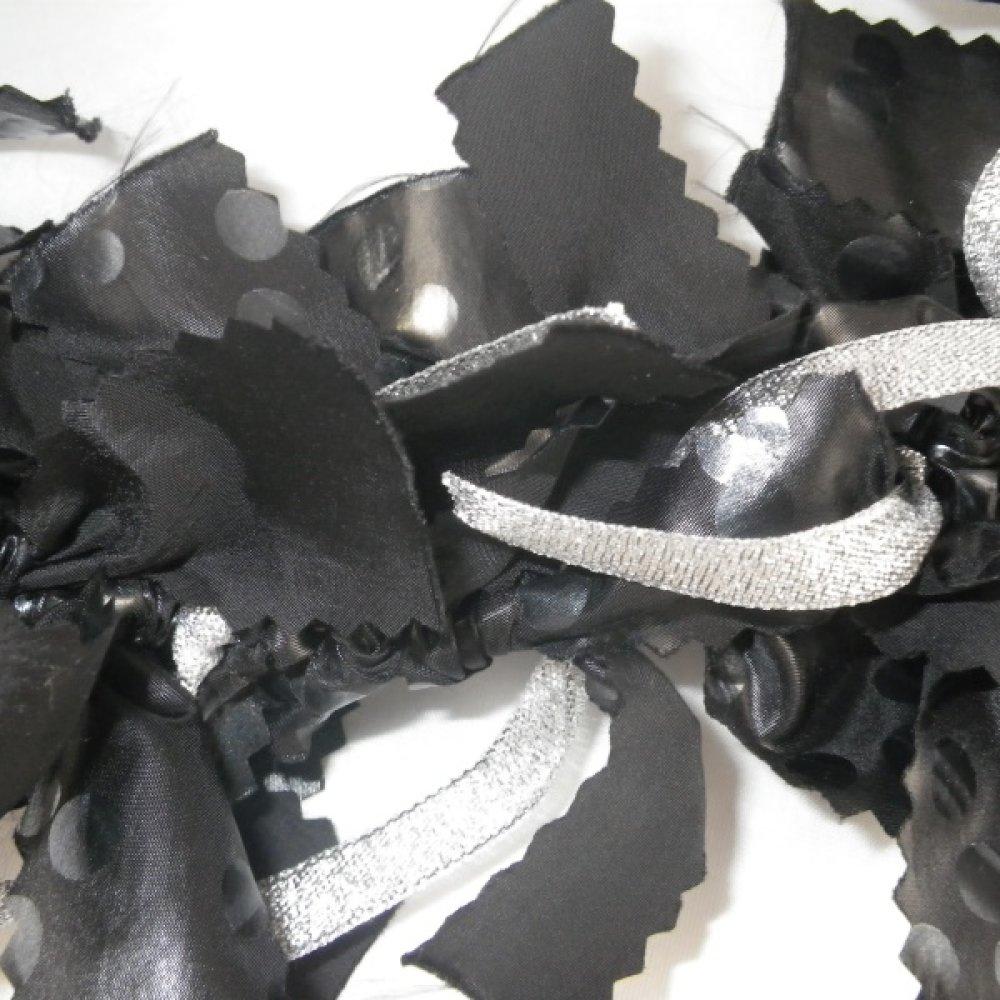 Couronne de Noël en tissu noir et argenté
