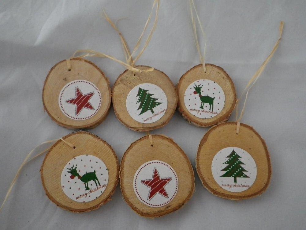 Lot de 6 rondelles de bois et motifs de Noël rouges et verts