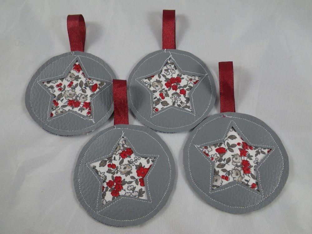 4 boules de Noël en simili cuir gris et liberty gris et rouge