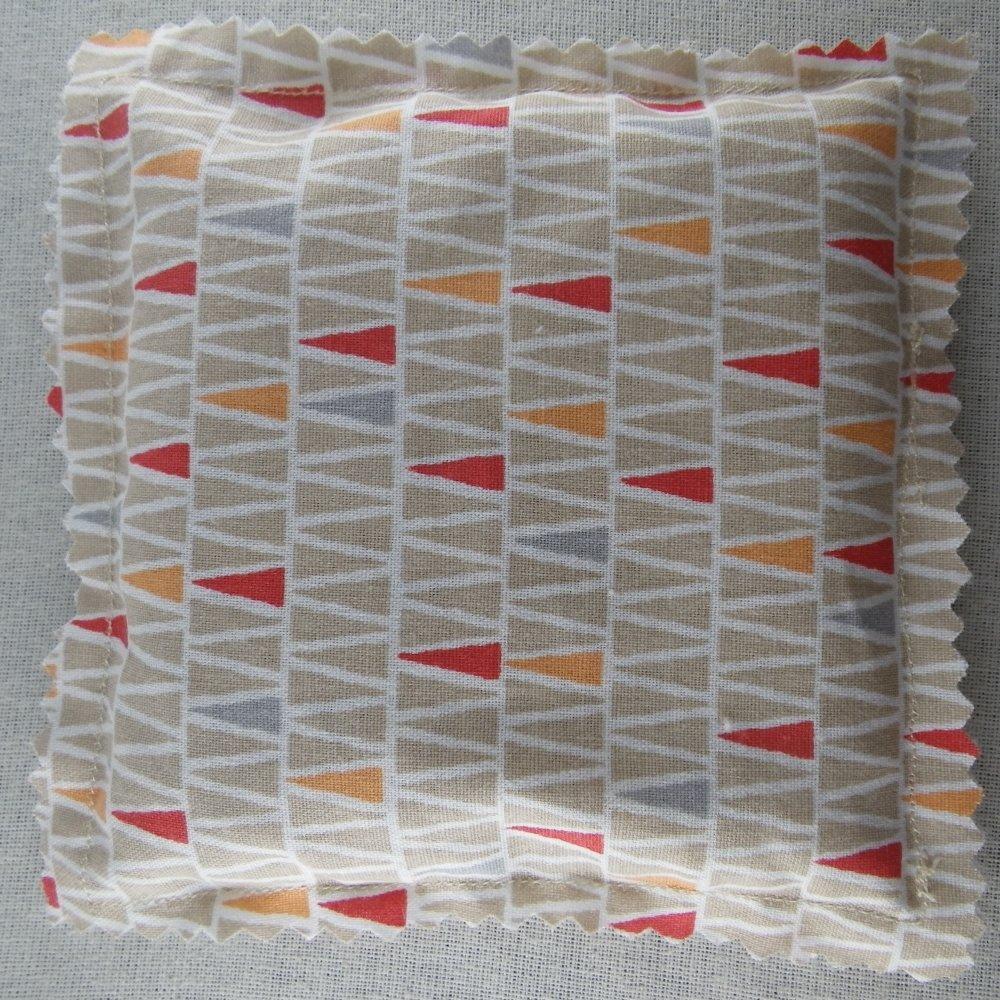 Chaufferette / pocket bouillotte sèche beige, orange et rouge / bouillotte de poche
