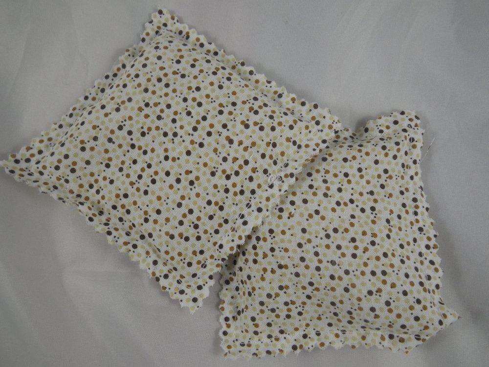 Chaufferettes / pocket bouillottes sèches écrues à pois marrons et beiges / bouillotte de poche