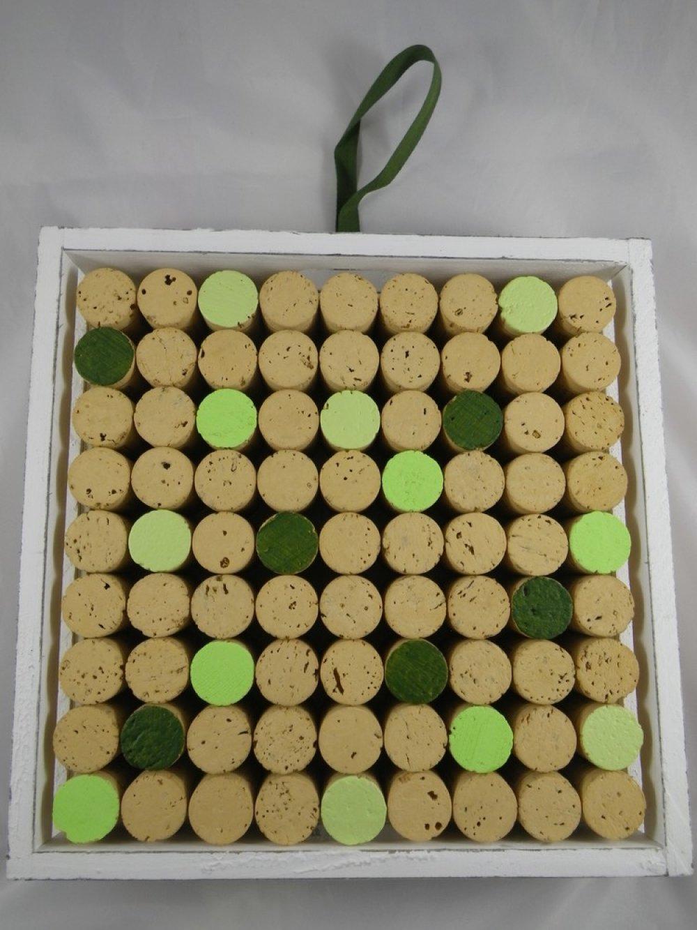 Tableau en liège décoratif vert et blanc
