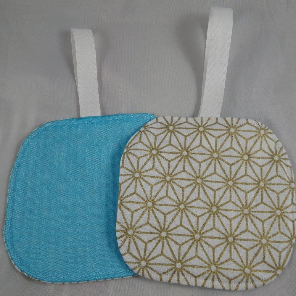 Lot de 2 éponges lavables motif géométrique doré tulle et coton