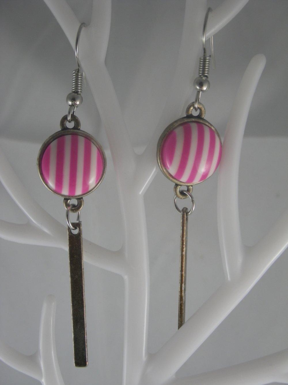 Boucles d'oreilles argent et cabochon rayures roses et blanches