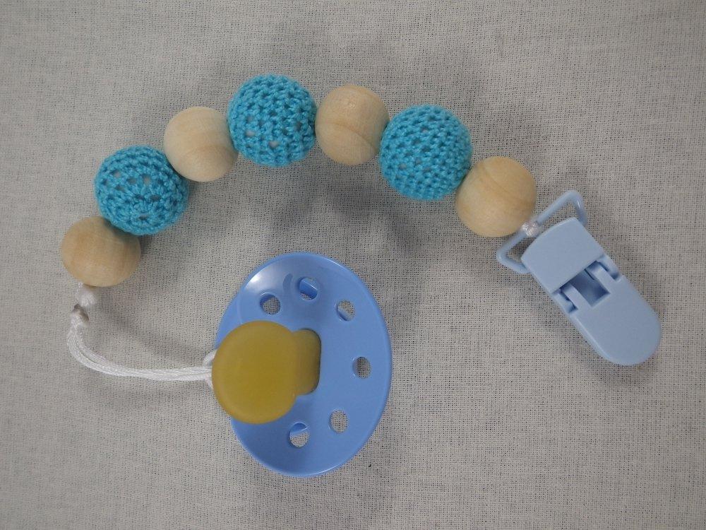 Attache tétine perles bleues turquoise et bois