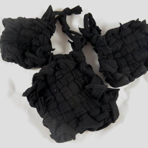 Lot de 3 tawashis ou éponges écologiques noires