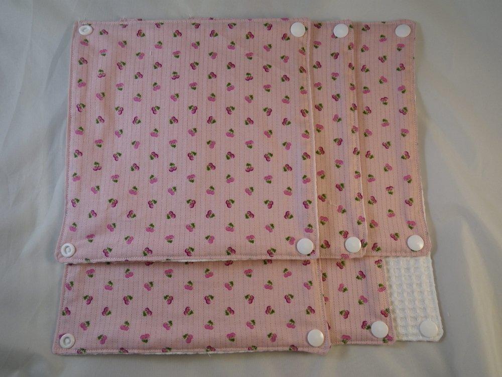 Essuie-tout lavable rose et petites cerises