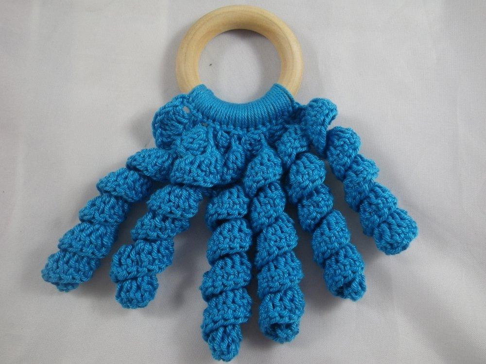 Hochet de dentition pieuvre bleu bois et crochet