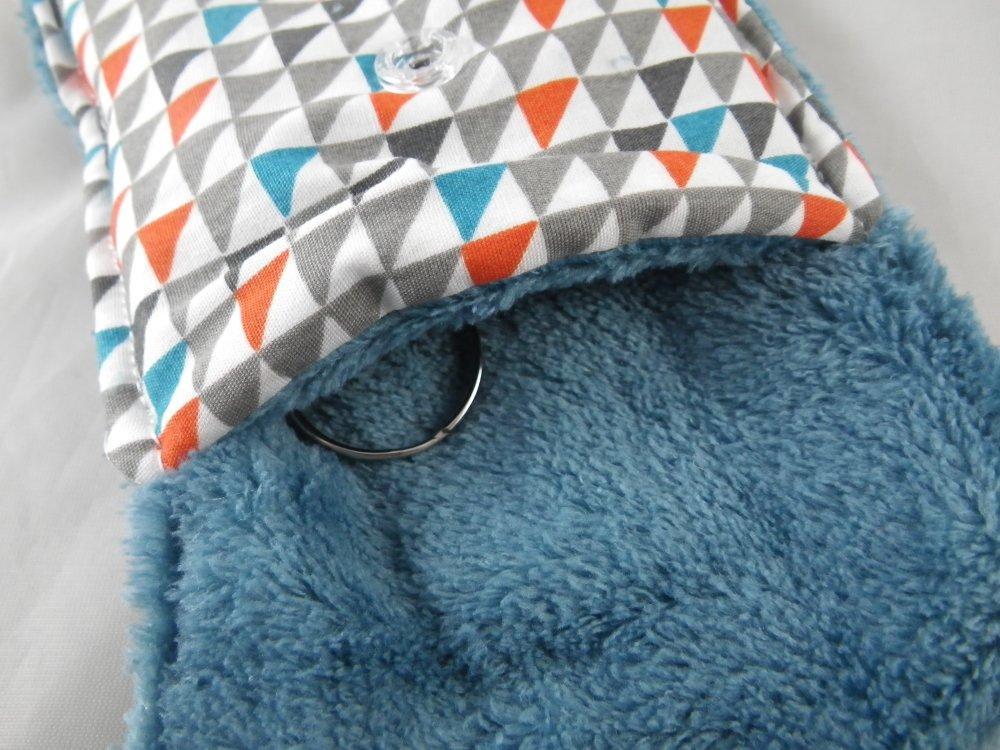 Pochette porte-clés triangles gris, oranges et bleus