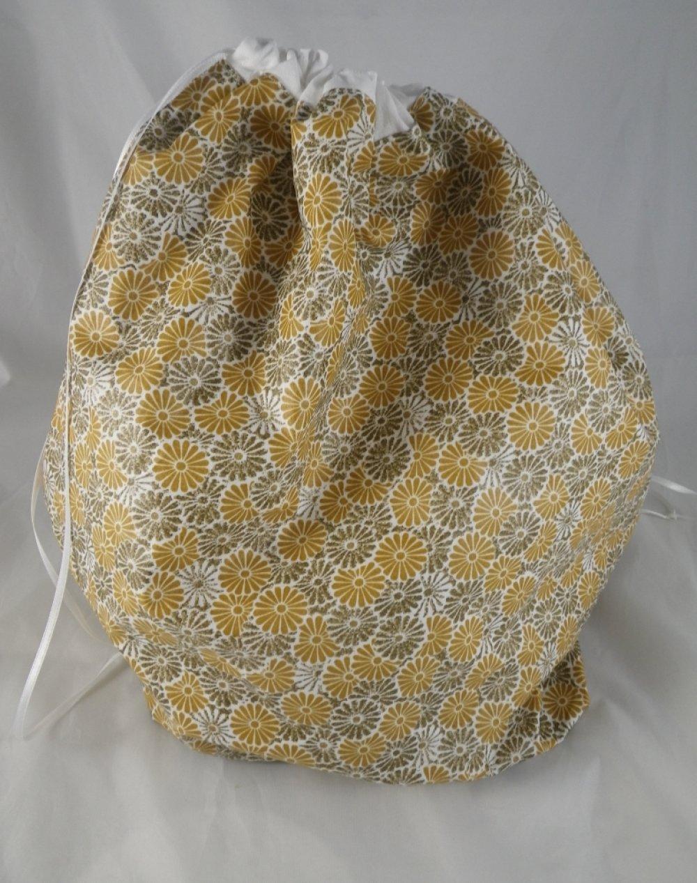 Sac à salade fleuri beige et jaune / sac à vrac