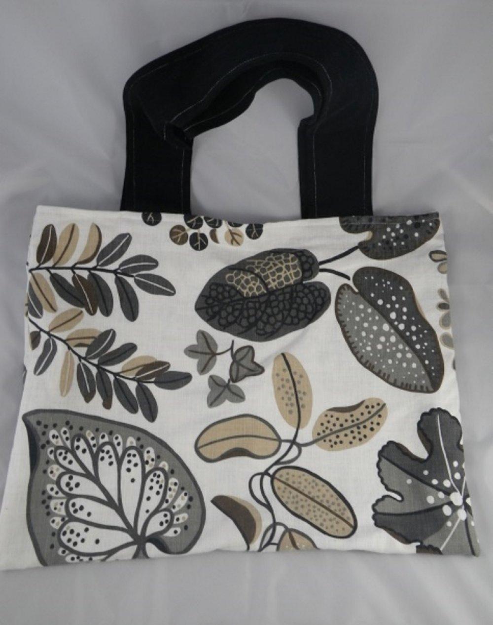 Grand sac cabas blanc, gris et beige
