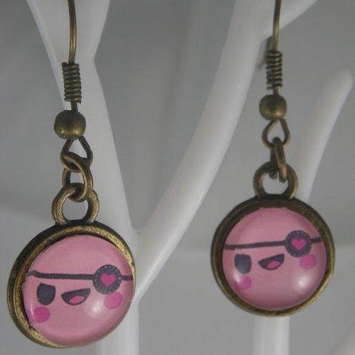 Boucles d'oreilles bronze et cabochon kawaii tête / visage rose