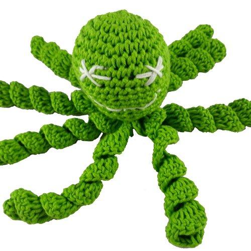Pieuvre verte au crochet pour nouveau-né