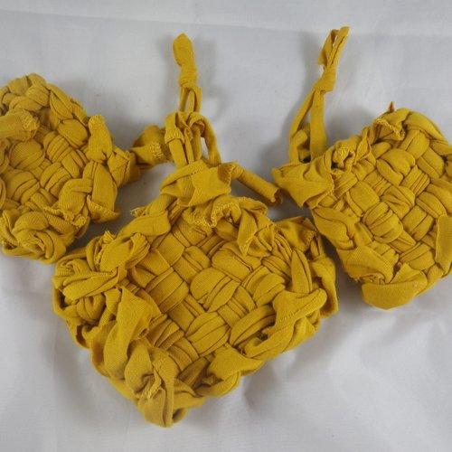 Lot de 3 tawashis ou éponges écologiques jaunes moutarde