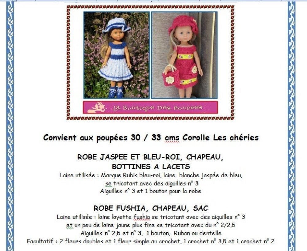Fiche patron PDF N° LC04 vêtements tricot  compatible Poupée Les Chéries Paola Reina