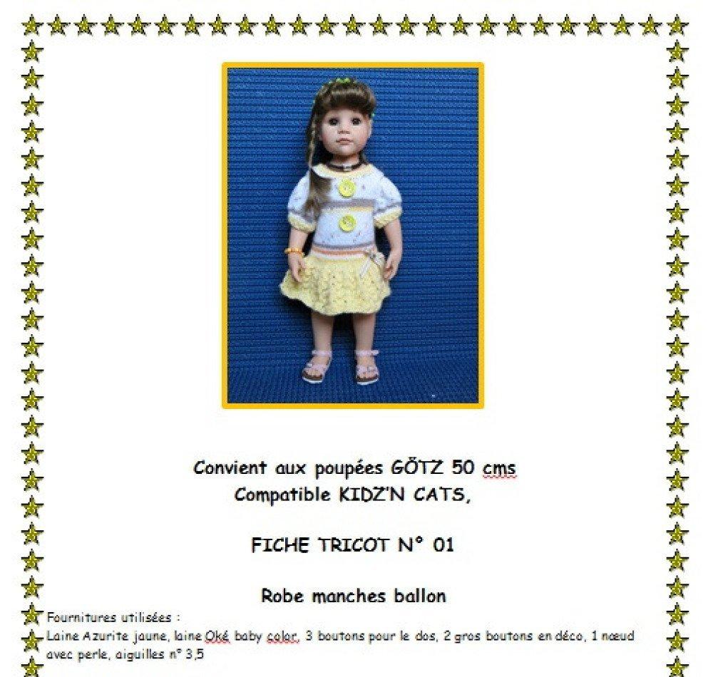 Fiche patron N G01 vêtement à confectionner en  tricot pour poupée Hannah de Gotz