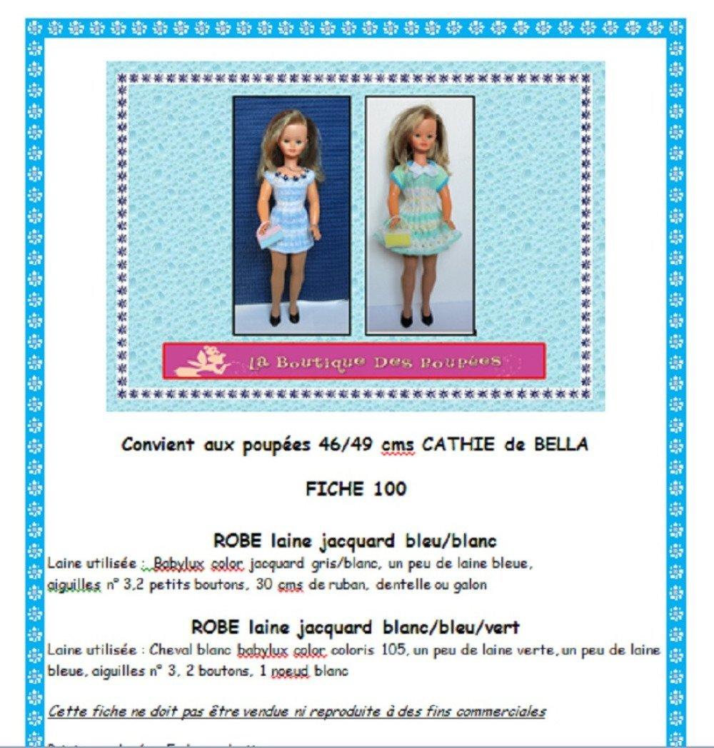 Fiche patron PDF N° CB100 vêtements tricot  Poupée 48/50 cms Cathy Bella