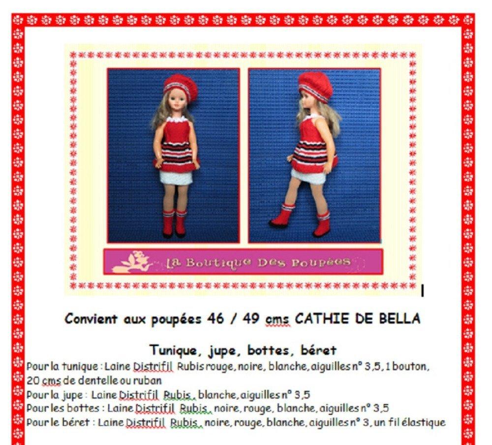 Fiche patron PDF N° CB103 vêtements tricot  Poupée 48/50 cms Cathy Bella