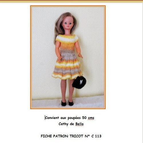 Fiche Patron Pdf N Cb113 Vêtements Tricot Poupée 4850 Cms